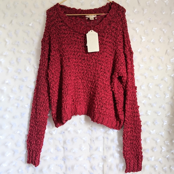 NEW Band of Gypsies Red Textured Bobble Sweater L